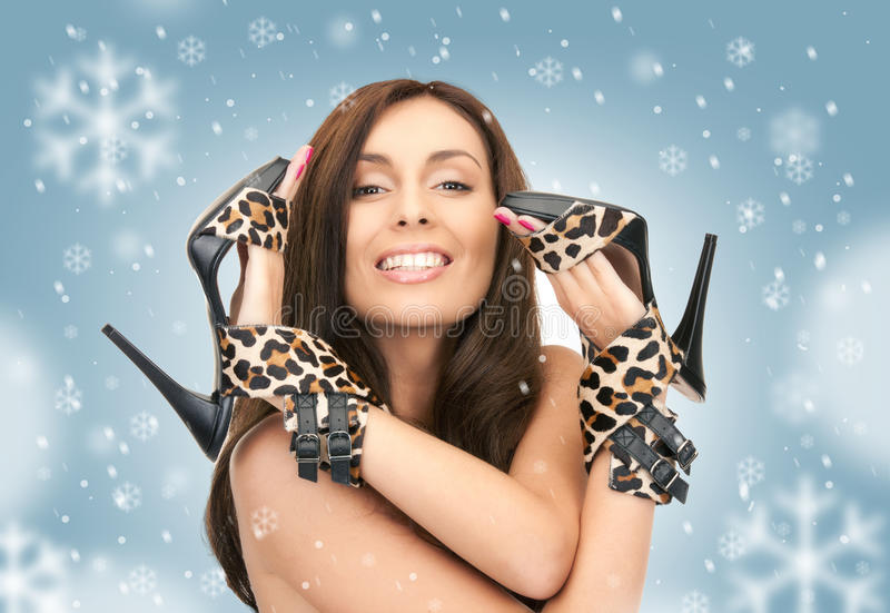 Download Lovely Woman With Leopard Shoes Stock Image - Image: 39430427