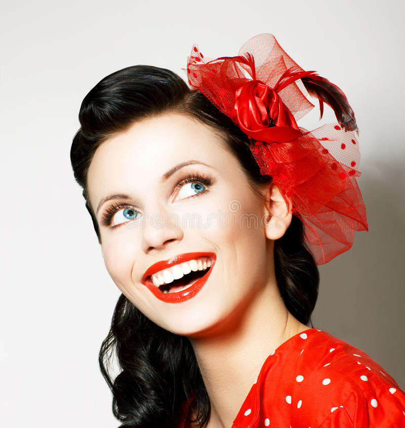 Download Vitality. Cheerful Young Woman With Red Bow Enjoying. Pleasure Stock Image - Image: 30313305
