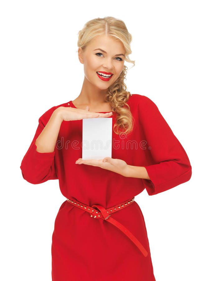 Lovely woman in red dress with note card. Picture of lovely woman in red dress with note card stock photos