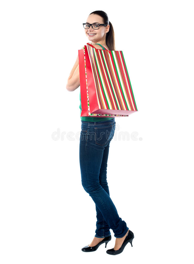 Lovely woman with shopping bags royalty free stock images