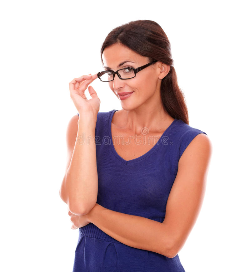 Lovely woman with spectacles looking at you stock photos