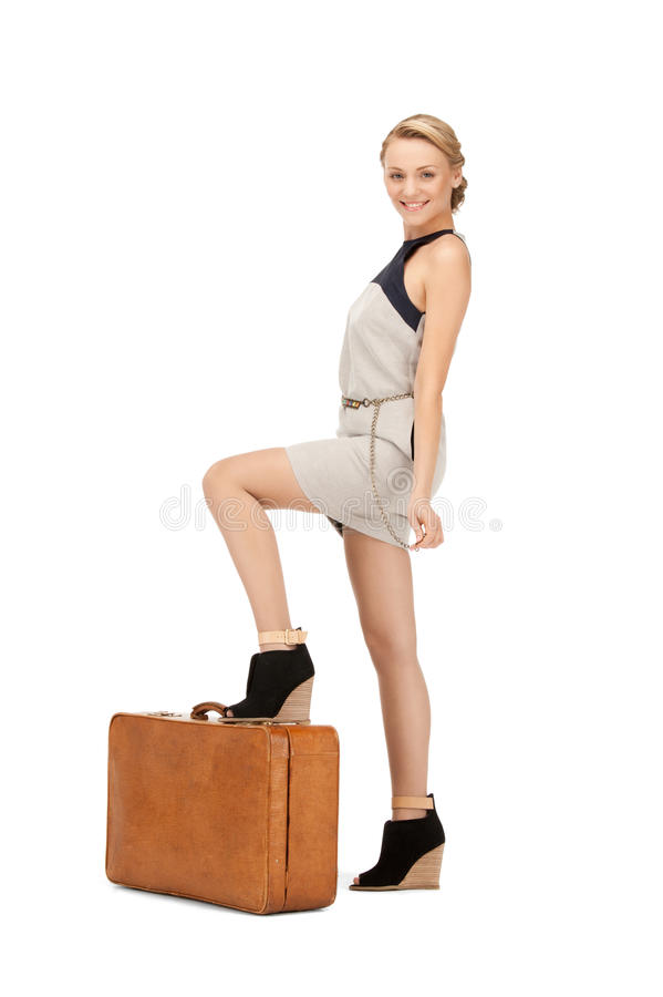 Download Lovely woman with suitcase stock image. Image of casual - 20539455