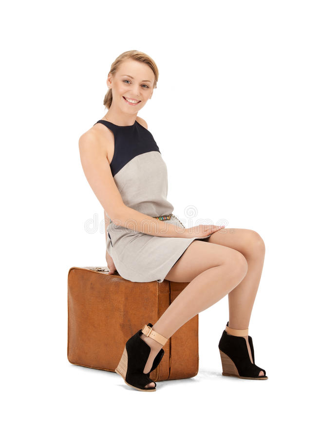 Download Lovely woman with suitcase stock image. Image of attractive - 20554729