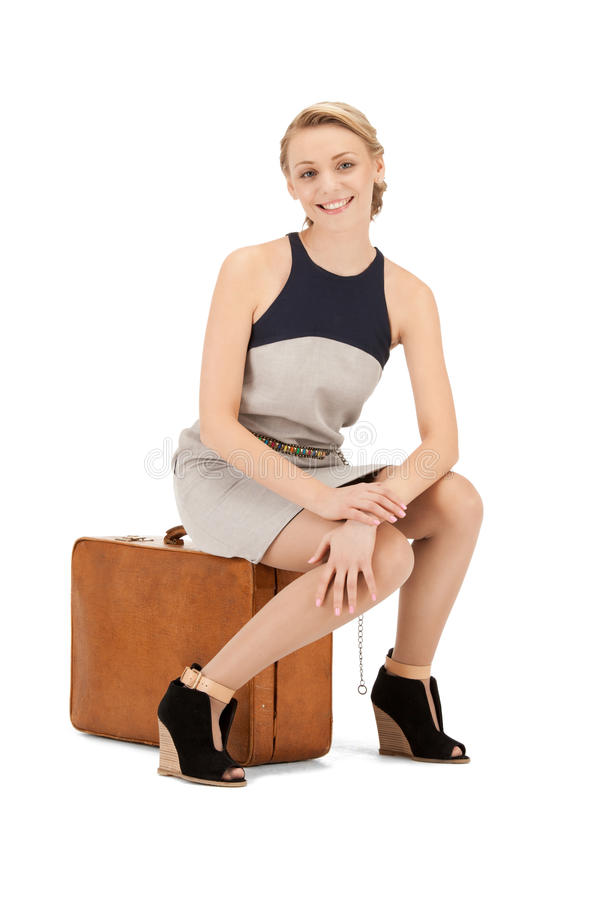 Download Lovely woman with suitcase stock image. Image of person - 20571731