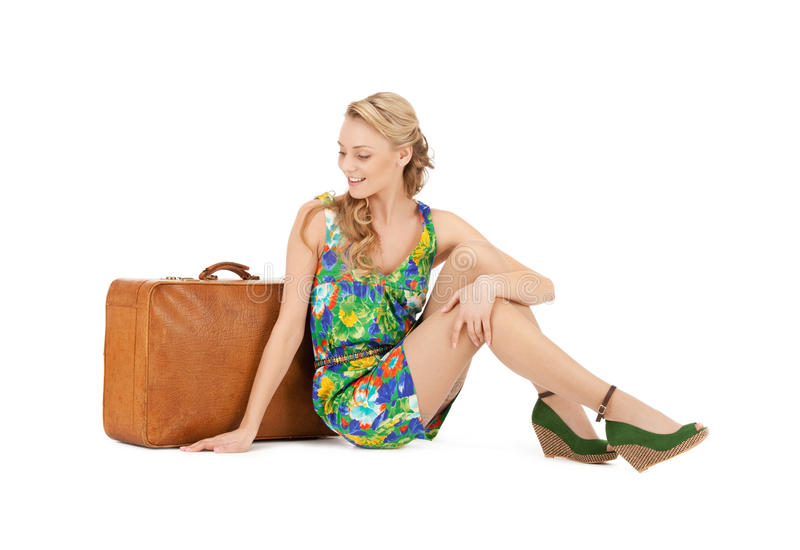 Lovely woman with suitcase. Bright picture of lovely woman with suitcase stock photos