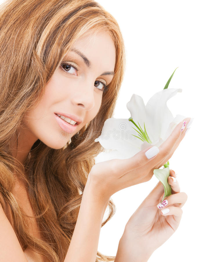 Lovely Woman With White Lily Flower Stock Photos
