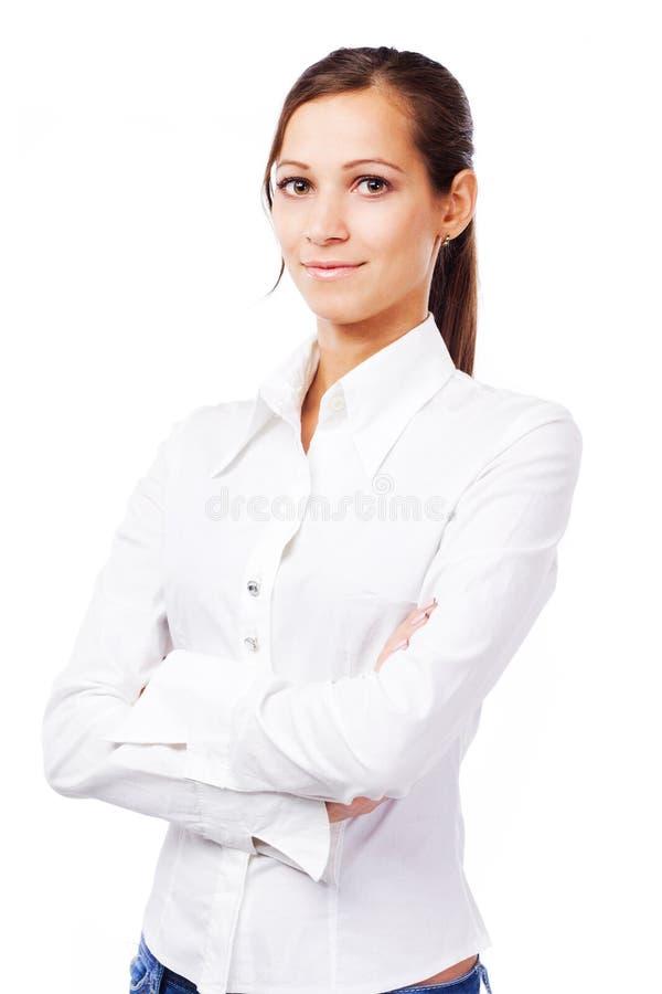 Lovely Woman In White Shirt Stock Image - Image of clerk, smile ...