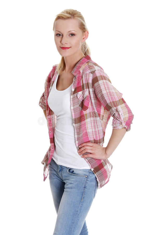 Lovely young blond woman in casual clothing stock image