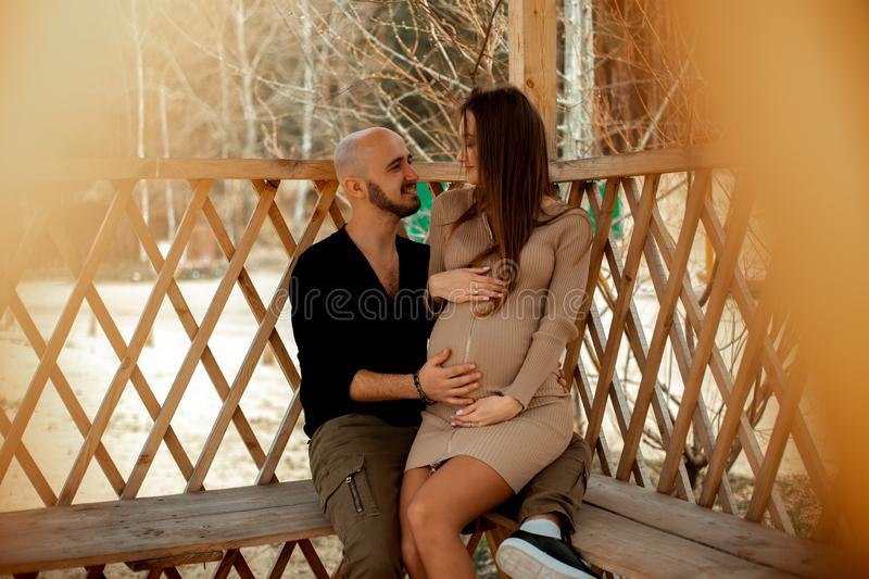Lovely young future parents royalty free stock photos