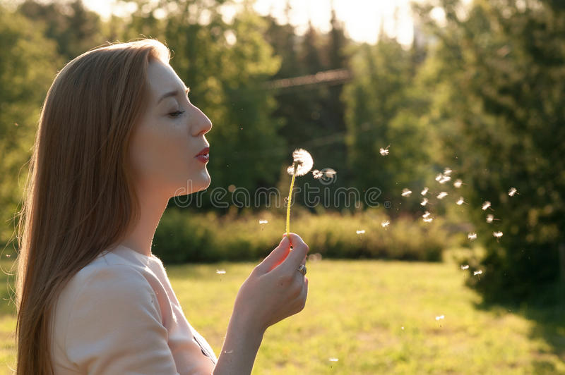 Lovely young girl blowing on a dandelion. Portrait of an outdoor lifestyle Spring annotation. Lovely young girl blowing on a dandelion. Portrait of an outdoor stock images