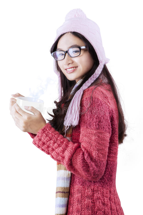 Lovely young girl in winter fashion royalty free stock photo