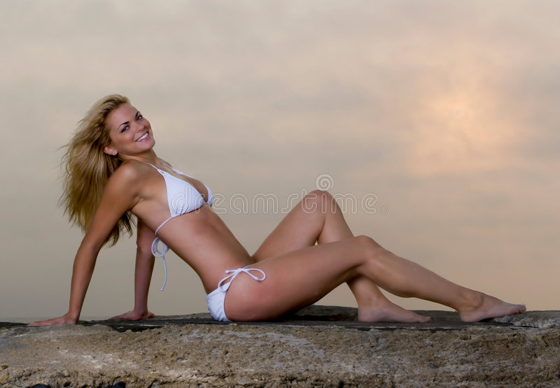 Lovely Young Woman in a Bikini stock photo
