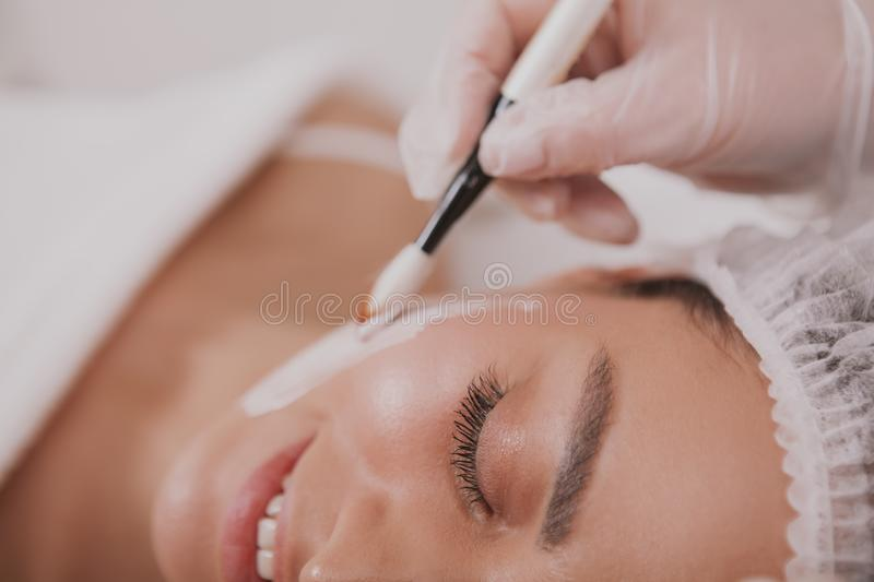 Lovely young woman visiting cosmetologist at beauty clinic stock image