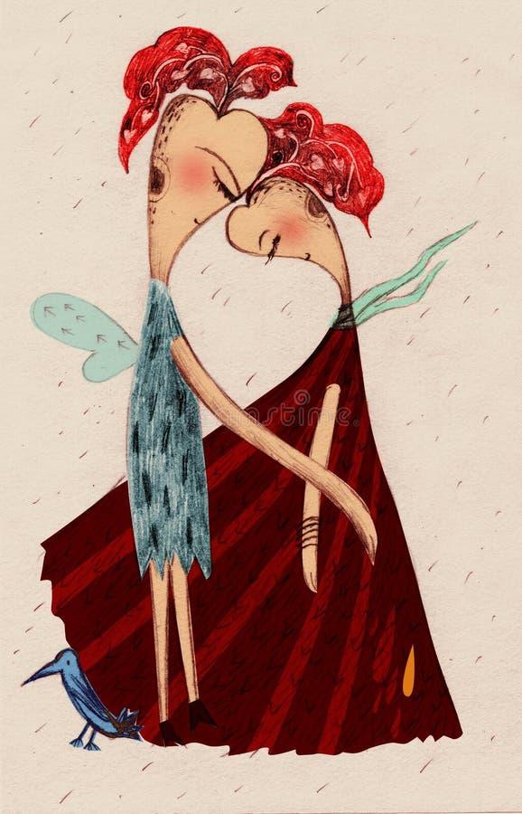 Download Lover stock illustration. Image of plume, leaf, woman - 7621014