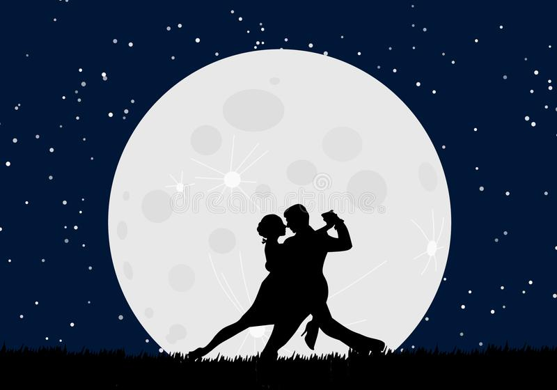 Lover dance with the moon royalty free illustration