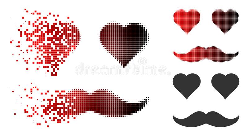 Fractured Dot Halftone Lover Smiley Icon. Lover smiley icon in dissolved, pixelated halftone and undamaged solid variants. Cells are arranged into vector royalty free illustration