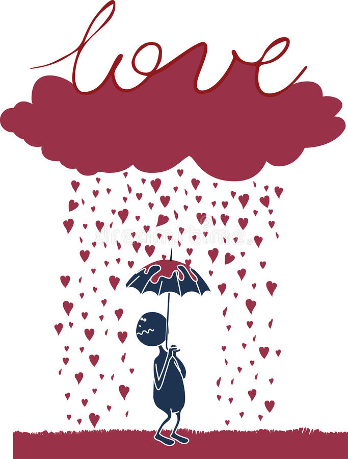 Download Lover under the rain stock illustration. Image of heart - 12686036