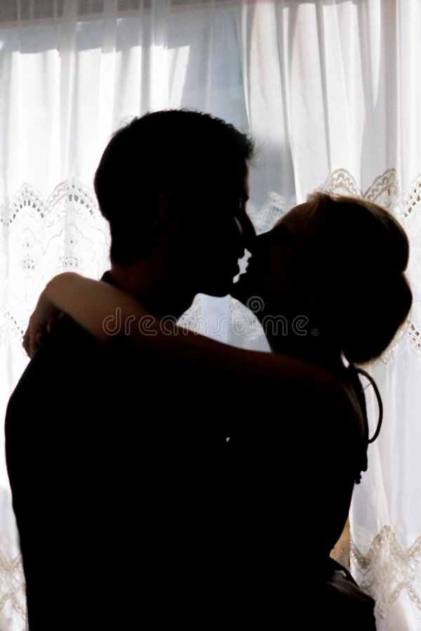Lovers. Silhouetted couple