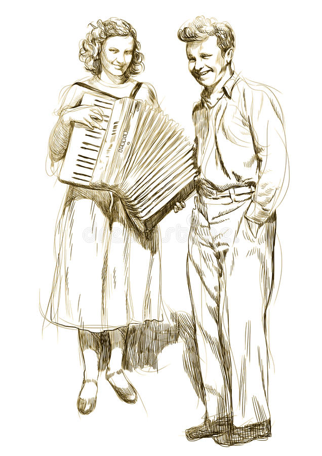 Lovers. Woman with an accordion and a young man - hand drawing royalty free illustration