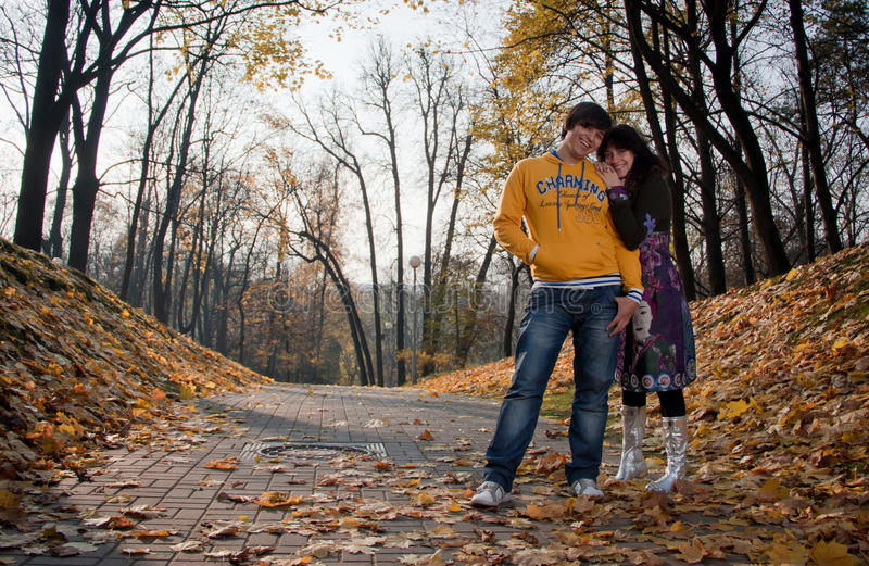 Download Lovers during autumn stock image. Image of happiness - 26893167
