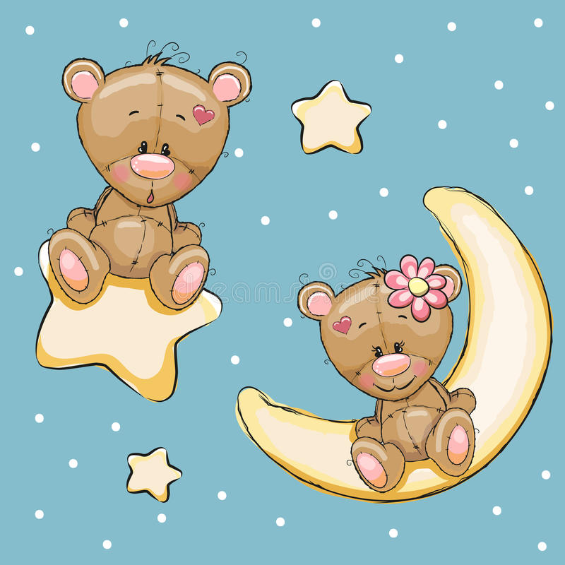 Lovers Bears. Valentine card with Lovers Teddy Bears on a moon and star