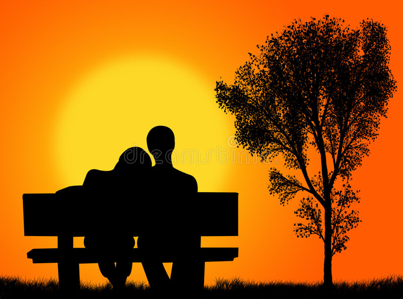 Lovers on the bench royalty free illustration