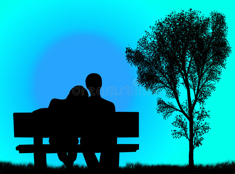 Lovers on the bench vector illustration
