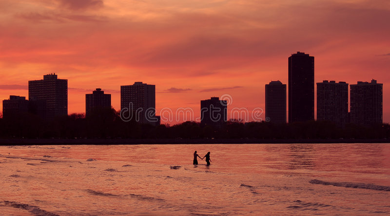Lovers in big city royalty free stock photos