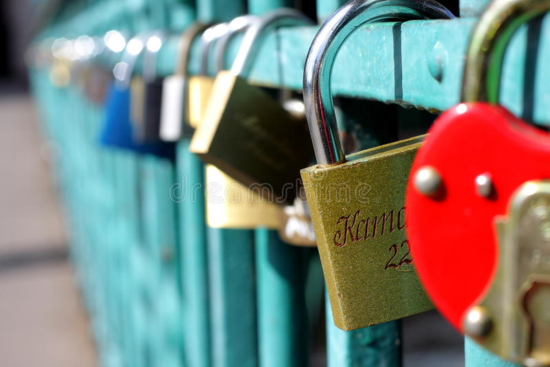 Lovers bridge in Wroclaw stock image