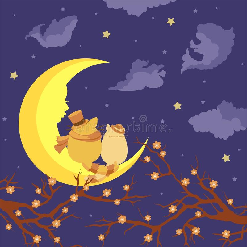 Lovers cats sitting on the moon and dreaming. Lovers cats sitting on the moon and dream against the starry sky stock illustration