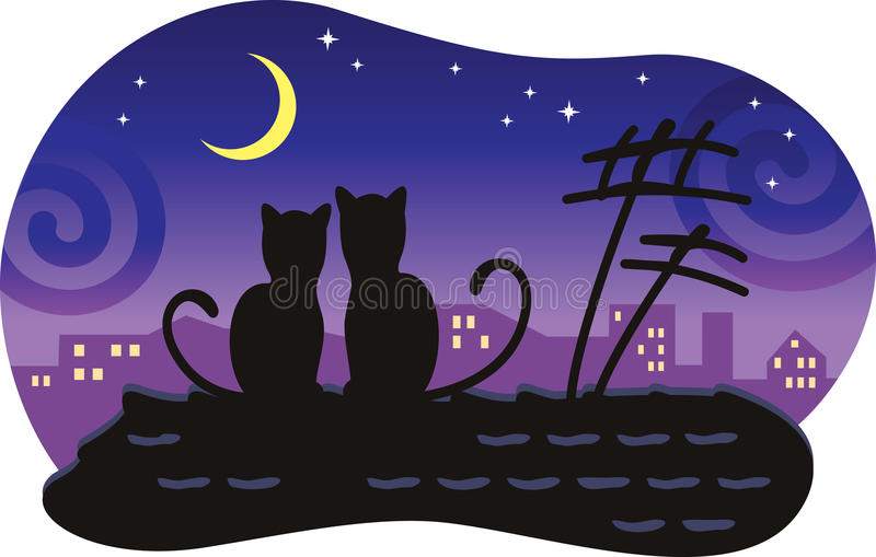 Download Lovers Cats Sitting On The Roof Of The House. Stock Vector - Image: 17414035