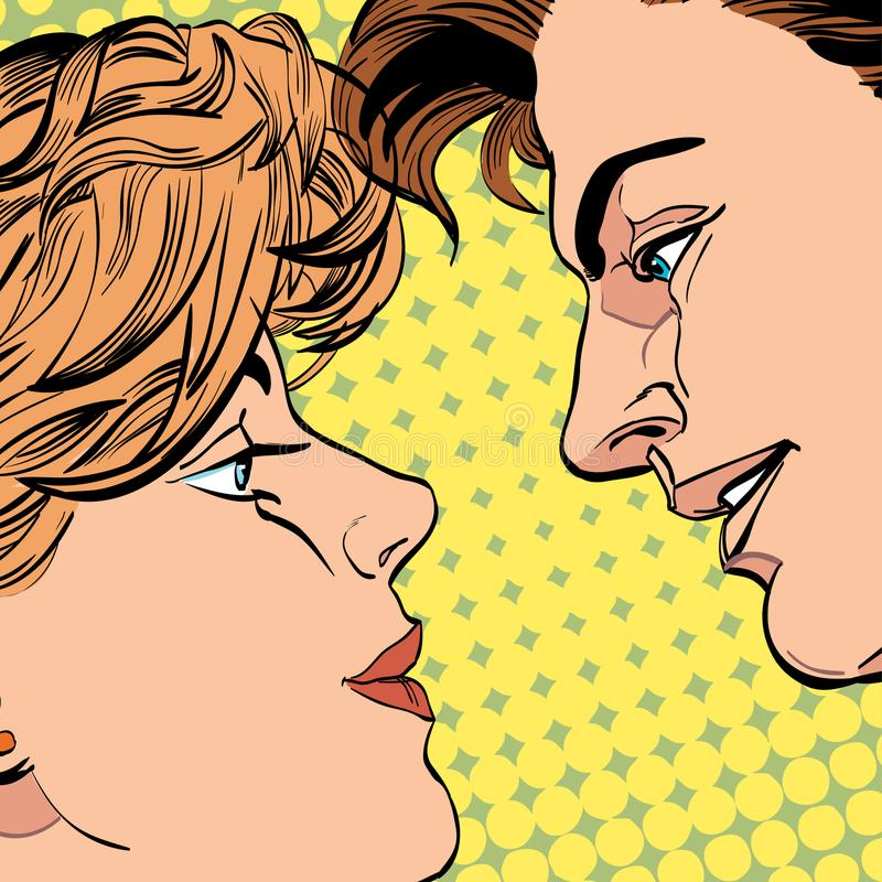 Lovers couple kissing, Romantic kiss. Romance valentine`s day illustration. Happy Valentine`s day. Concept idea of. Advertisement and promo. Halftone background stock illustration