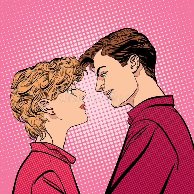 Lovers couple kissing, Romantic kiss. Romance valentine`s day illustration. Happy Valentine`s day. Concept idea of. Advertisement and promo. Halftone background vector illustration