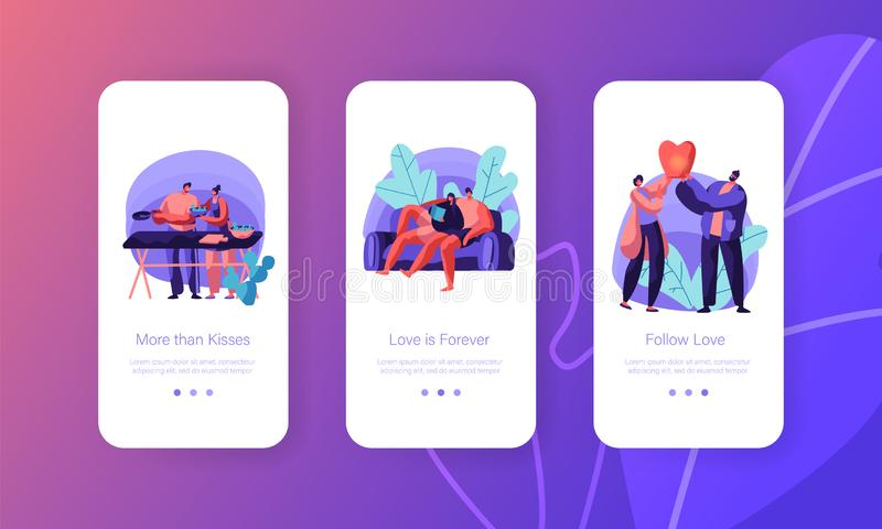 Lovers Couple Relax at Leisure Mobile App Page Onboard Screen Set. Man and Woman Prepare Salad for Picnic vector illustration