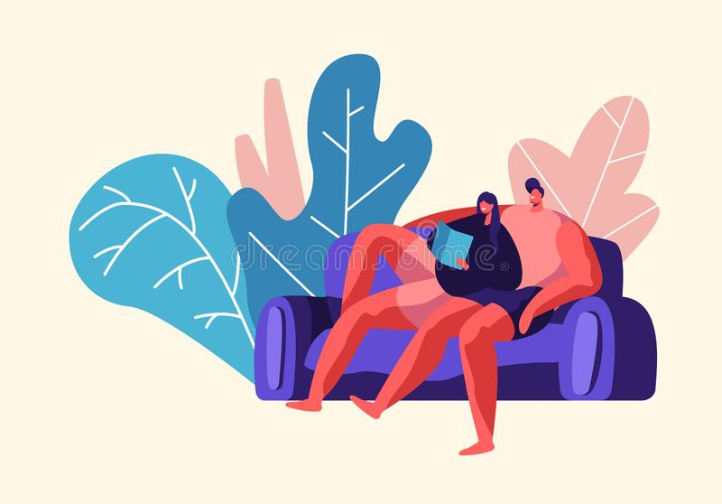 Lovers Couple Relax Outdoor at Weekend. Man and Woman Sit on Comfort Sofa in City Park. Happy Pair Read Book Together royalty free illustration