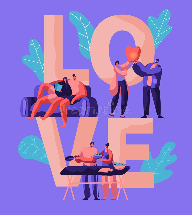 Lovers Couple Relax at Weekend Typography Banner. Man and Woman Prepare Salad for Picnic Boy and Girl Launch Sky Lantern stock illustration