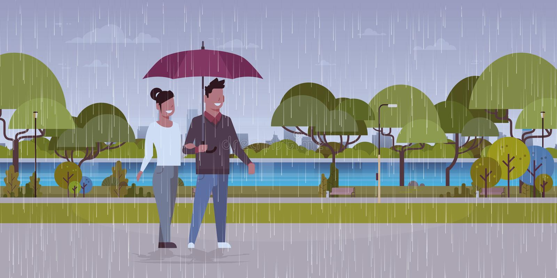 Lovers couple under umbrella man woman romantic walking in rain city urban park landscape background full length vector illustration