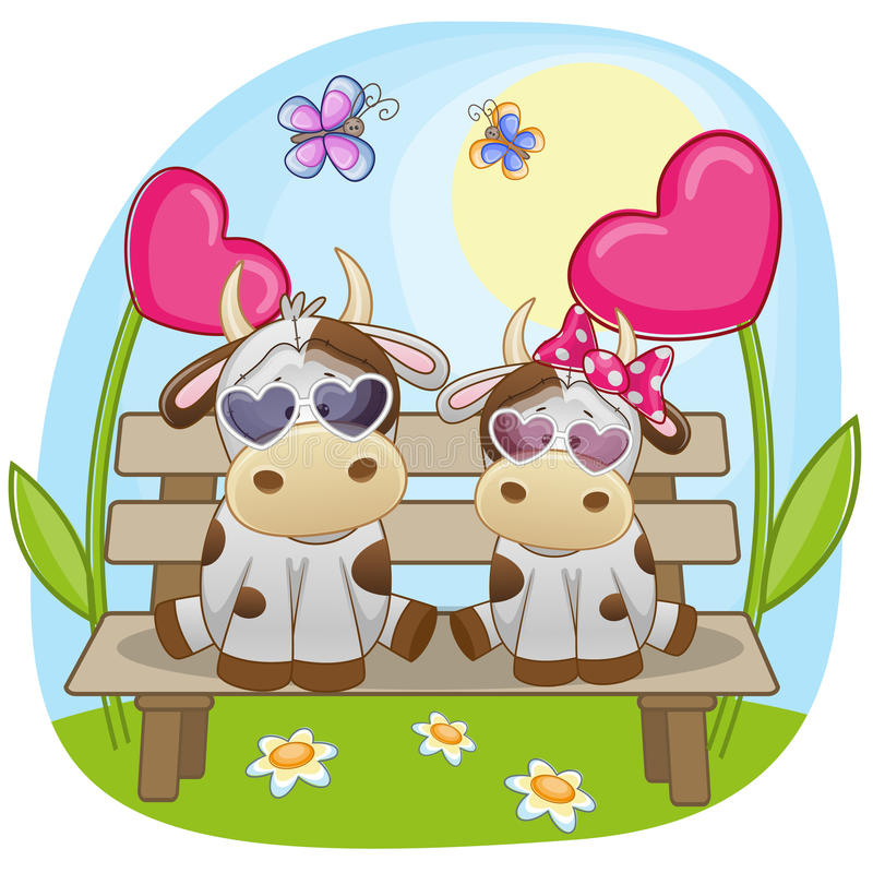 Lovers Cows stock illustration