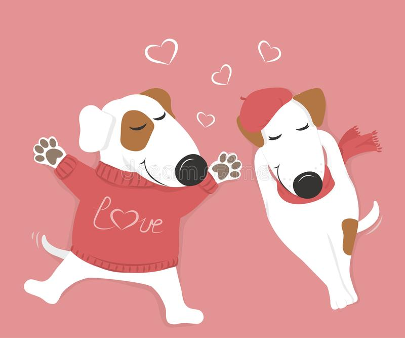 Lovers dog lying with his eyes closed. Cute loving white dog lying with his eyes closed. Pink background and hearts. Vector illustration royalty free illustration