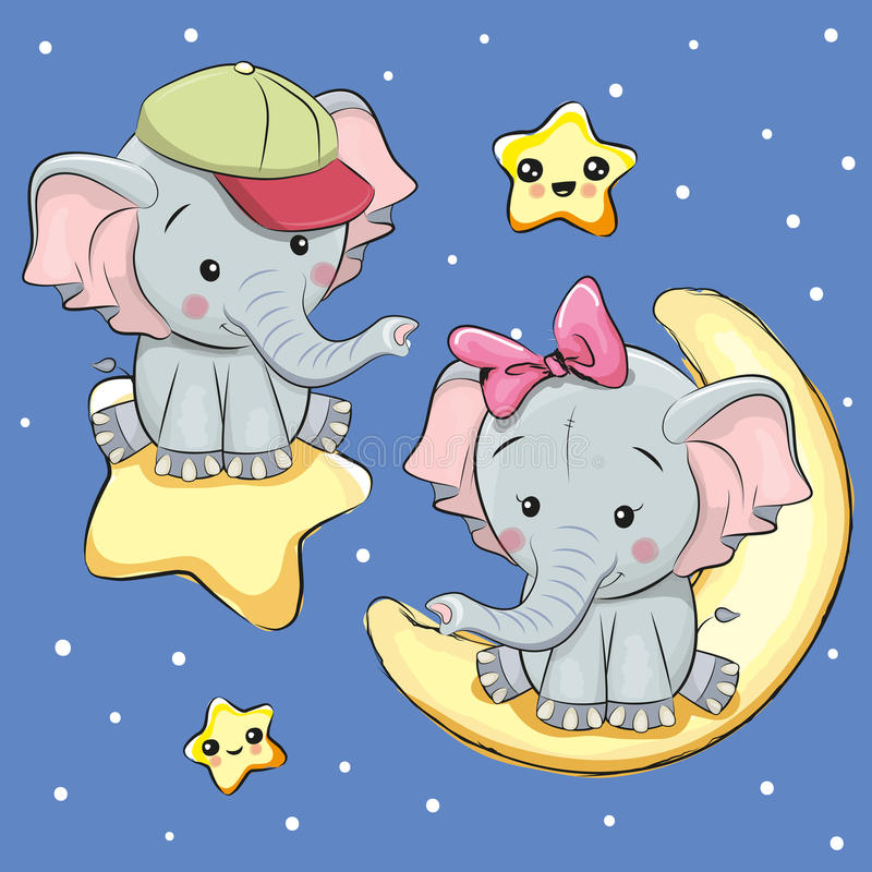Lovers Elephants on a moon and star. Valentine card with Lovers Elephants on a moon and star stock illustration