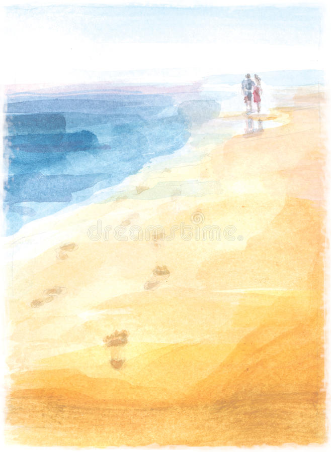 Lovers footprints. In the sand on beach stock photo