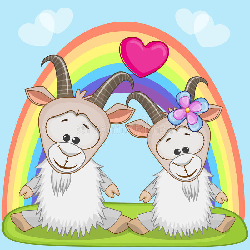 Lovers Goats. Valentine card with Lovers Goats vector illustration