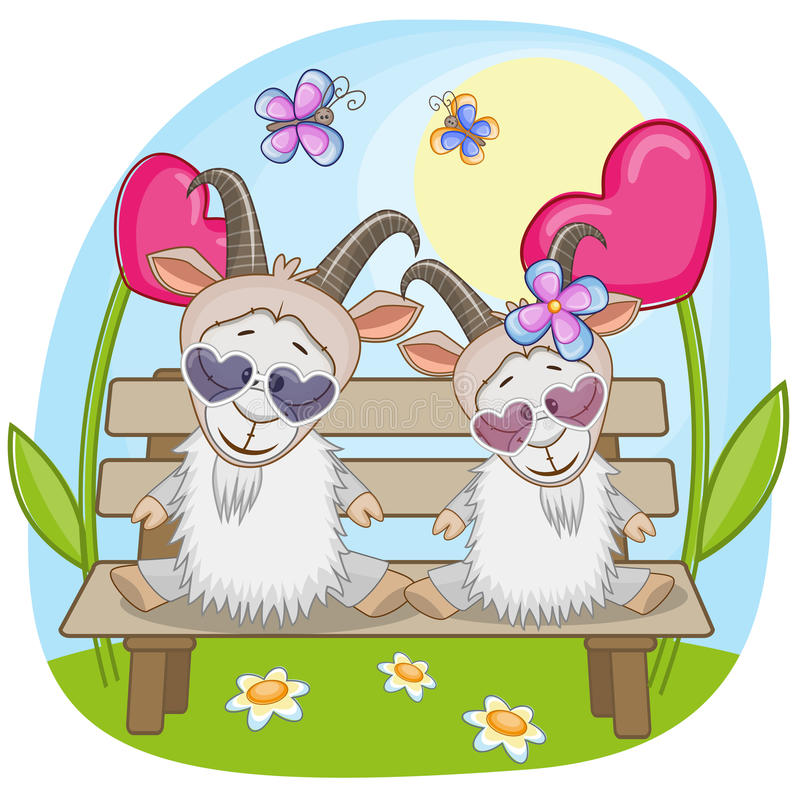 Lovers Goats royalty free illustration