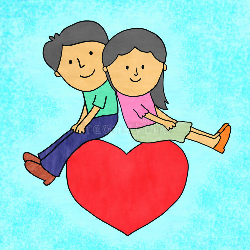 Lovers on a heart. Illustration of a cartoon couple sitting on a very large heart vector illustration