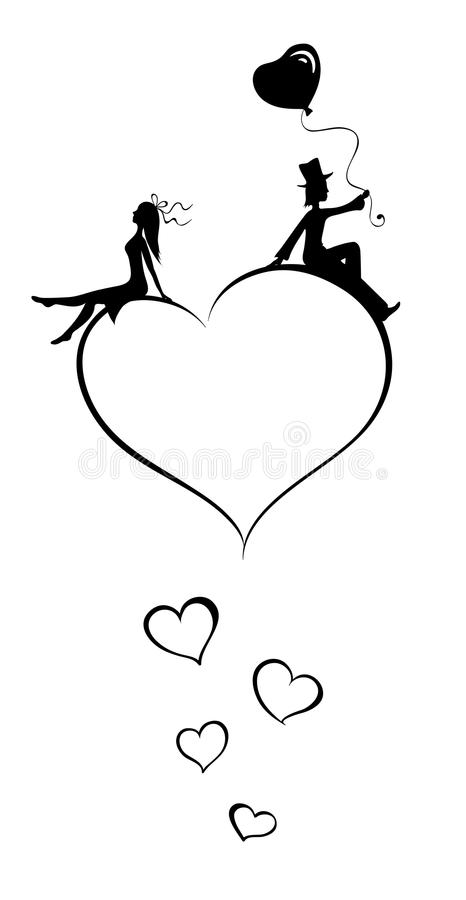 Lovers on the heart royalty free illustration