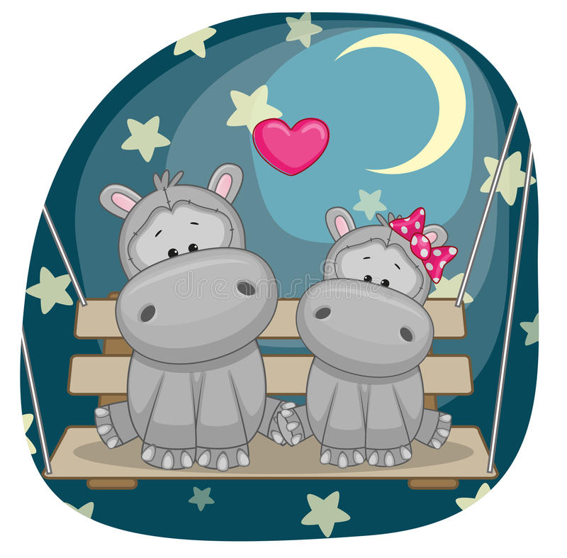 Lovers Hippos. Valentine card with Lovers Hippos on the swing stock illustration