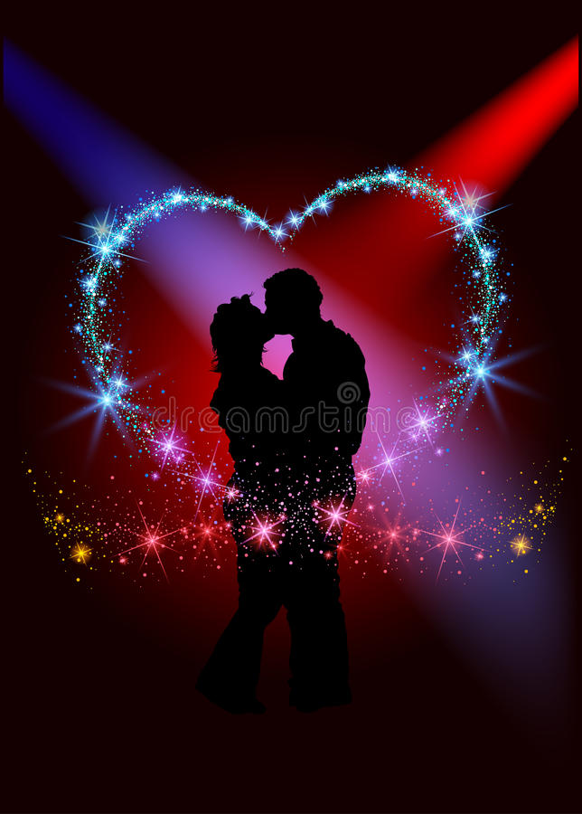 Lovers inside the sparkling heart vector illustration
