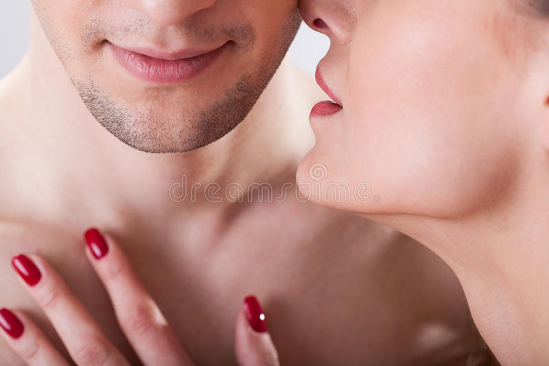Lovers intimate moment royalty free stock image