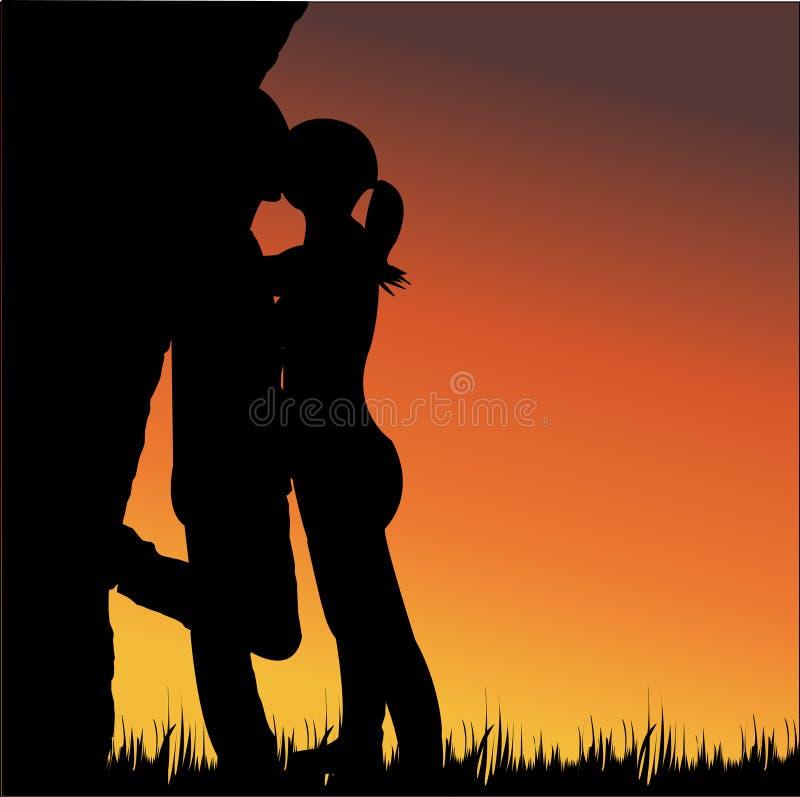 Lovers kissing. In sunset illustration stock illustration