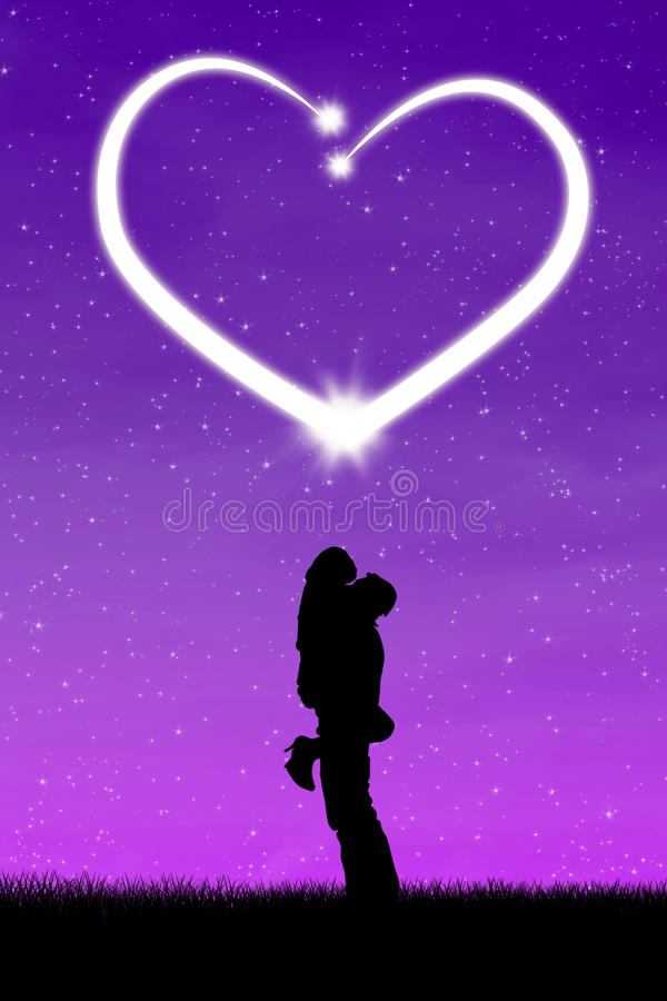 Lovers kissing with bright heart. Silhouette of lovers kissing with bright heart in evening vector illustration